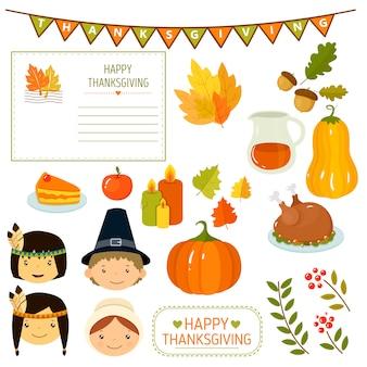Thanksgiving-elemente im flachen stil