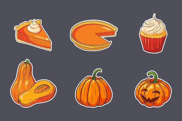Thanksgiving-essen-aufkleber-set. frische reife kürbisse, kürbiskuchen und kleiner kuchen. sammlung von herbstferien-kürbisgerichten für aufkleber, einladung, menü- und grußkartendekoration. premium-vektor