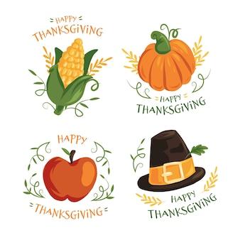 Thanksgiving-etikettensammlung im flachen design