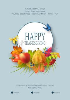 Thanksgiving festival flyer oder poster vorlage