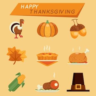 Thanksgiving flache clipart. truthahn und kürbis, eichel und kuchen