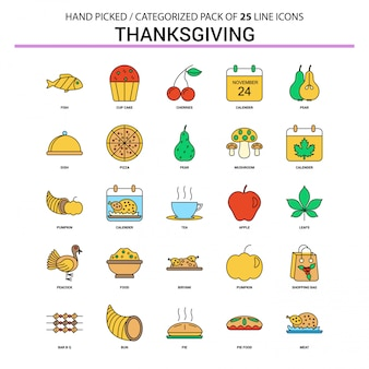 Thanksgiving flat line icon set