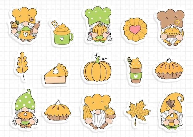 Thanksgiving-gnome-aufkleber, kürbis-gnome-planer und sammelalbum.