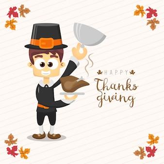 Thanksgiving-grußkarte mit einem mann. lustige zeichentrickfigur für urlaub