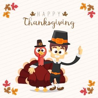 Thanksgiving-grußkarte mit einem mann und der türkei. lustige zeichentrickfigur für urlaub