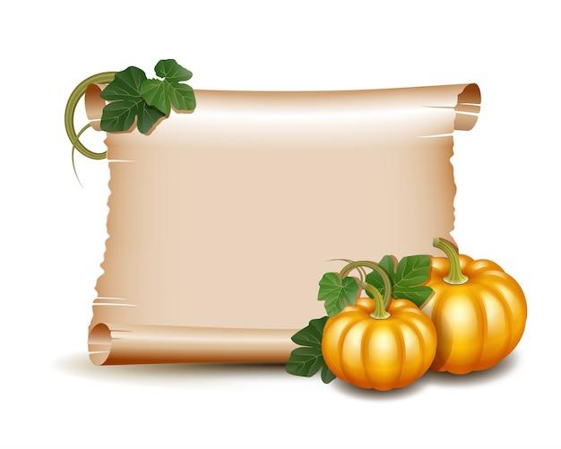 Thanksgiving grußkarte mit kürbissen