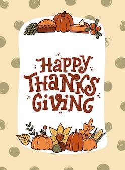 Thanksgiving-grußkarte mit zitat und kritzeleien