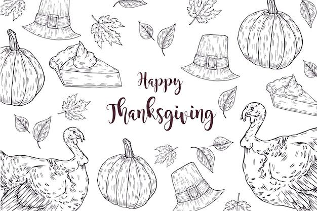 Thanksgiving hand gezeichneten hintergrund