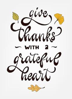 Thanksgiving hand schriftzug zitat
