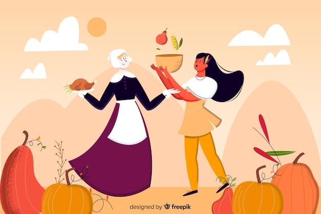 Thanksgiving-hintergrund im flat design