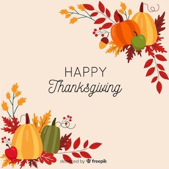 Thanksgiving-hintergrund in flache desgin
