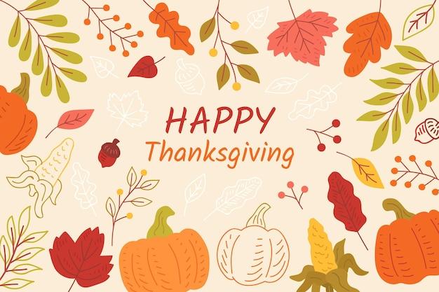Thanksgiving-hintergrund mit blättern