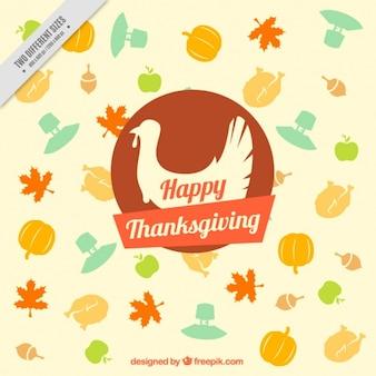Thanksgiving-hintergrund mit einer silhouette der türkei