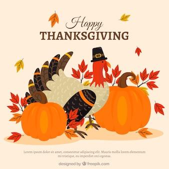 Thanksgiving hintergrund mit eleganten truthahn und kürbisse