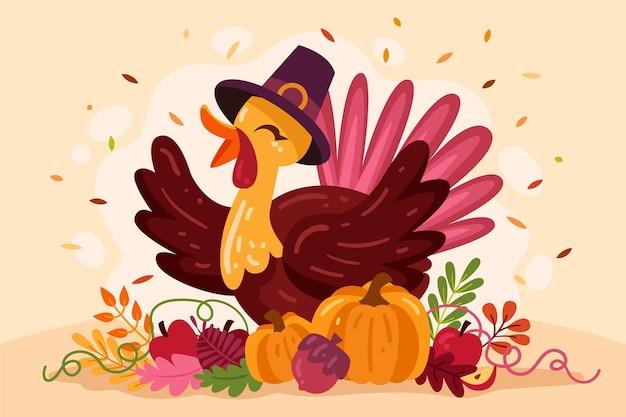 Thanksgiving-hintergrund mit glücklichem truthahn