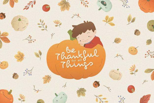 Thanksgiving-hintergrund mit jungen