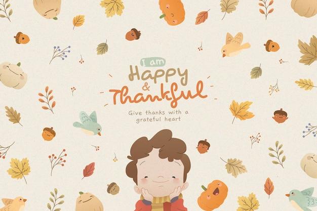 Thanksgiving-hintergrund mit kind