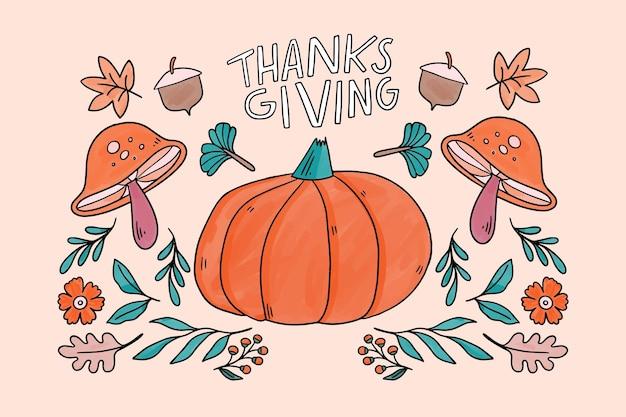 Thanksgiving-hintergrund mit kürbis
