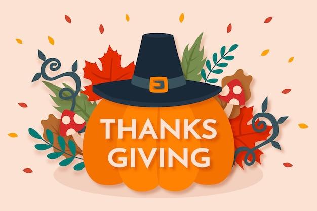 Thanksgiving-hintergrund mit kürbis Premium Vektoren