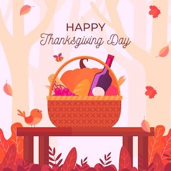 Thanksgiving-hintergrund mit lebensmittelkorb