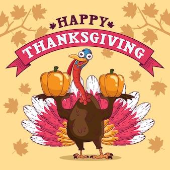 Thanksgiving-hintergrund mit truthahn und gruß
