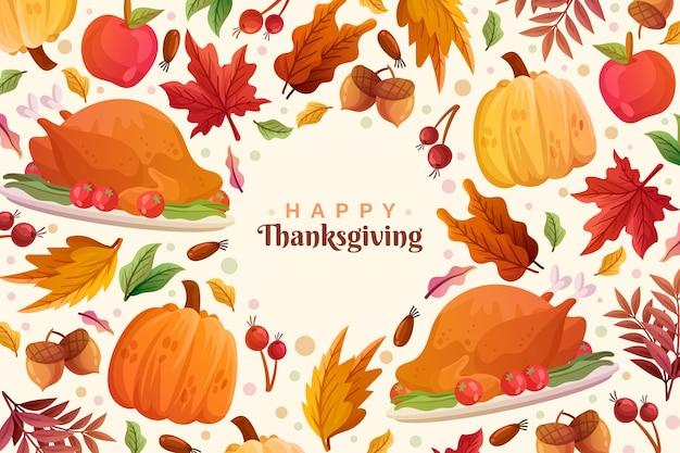 Thanksgiving-hintergrund mit truthahn