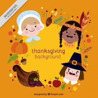 Thanksgiving-hintergrund mit verschiedenen charakteren