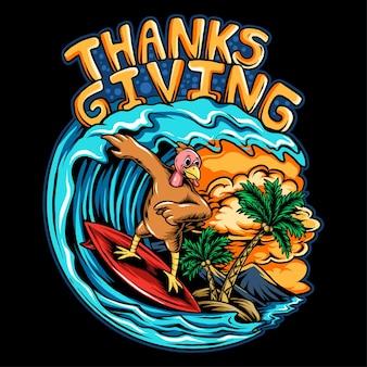 Thanksgiving holiday truthahn, der ein surfbrett auf den wellen des ozeans an einem schönen strand mit kokosnuss reitet