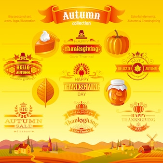 Thanksgiving-icon-set. logofestival-karikaturikonen und -logo mit ländlichem landschaftshintergrund.