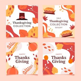 Thanksgiving instagram beiträge in flachem design