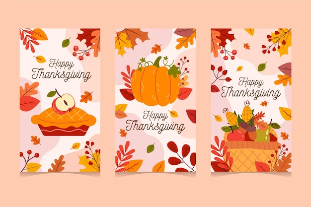Thanksgiving instagram geschichten in flachem design