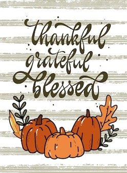 Thanksgiving-kalligraphie-zitat für karten und drucke