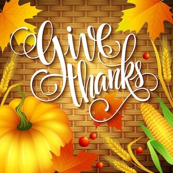 Thanksgiving-karte mit schriftzug auf weidenkorb