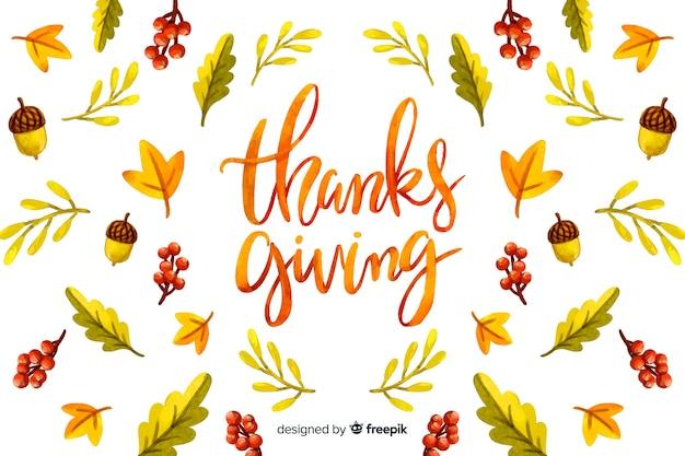 Thanksgiving-konzept mit aquarell hintergrund