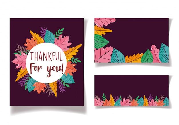 Thanksgiving-label-karten verlässt