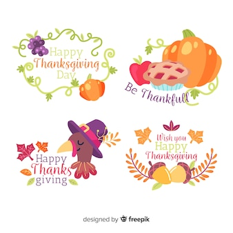 Thanksgiving-label-kollektion im flachen design