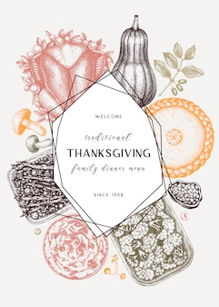Thanksgiving-menü in farbe. mit gebratenem truthahn, gekochtem gemüse, gerolltem fleisch, backkuchen und tortenskizzen. weinlese-herbst-nahrungsmittelkranz. erntedankfest hintergrund.
