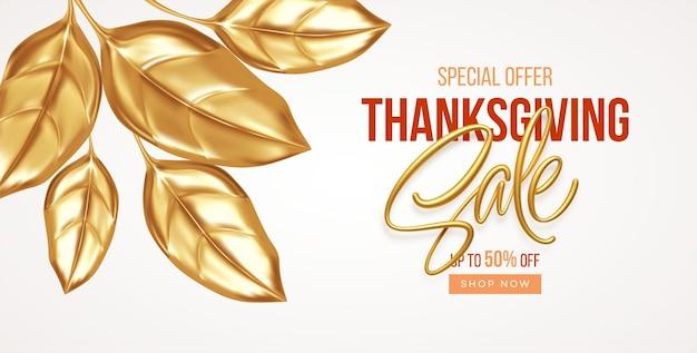 Thanksgiving oder herbstrabattverkaufsbanner mit fallenden goldblättern. herbstverkaufskulisse mit goldenen blättern. vektor-illustration