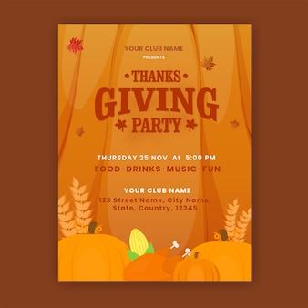 Thanksgiving-party-flyer-design mit kürbissen, mais, weizenähre und brathähnchen auf orangem hintergrund.