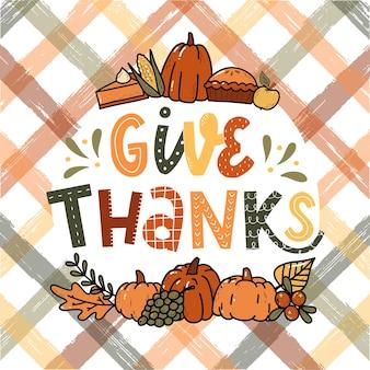 Thanksgiving-schriftzug-zitat mit kritzeleien verziert