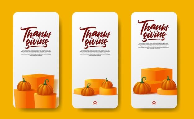 Thanksgiving-social-media-geschichten 3d-realistisches kürbisgemüse mit herbst-ahornblättern auf der produktanzeige auf der podiumsbühne