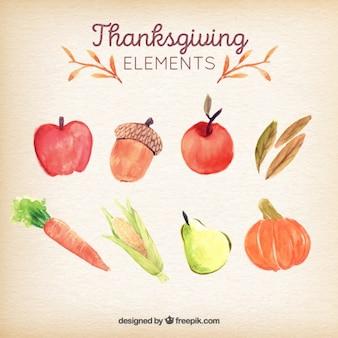 Thanksgiving-tag aquarell typischen zutaten gesetzt