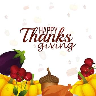 Thanksgiving-tageskarte mit gemüse