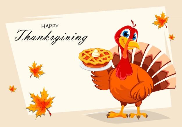 Thanksgiving-truthahn, der leckeren kuchen hält