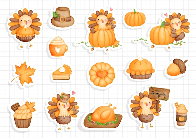 Thanksgiving truthahn sticker kürbis mit süßem truthahn planer und scrapbook