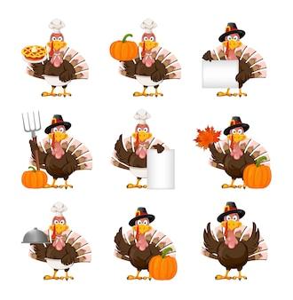 Thanksgiving truthahnvogel, satz von neun posen