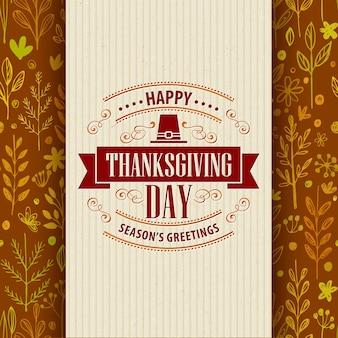 Thanksgiving-typografie-grußkarte auf nahtlosem muster. vektor-illustration eps 10