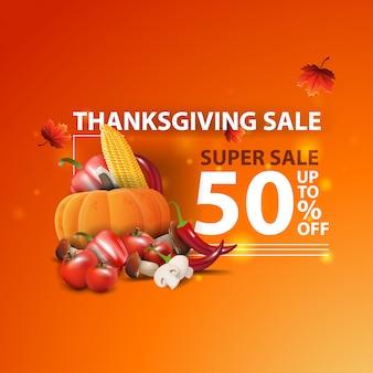 Thanksgiving-verkauf, bis zu 50% rabatt, moderne orange kreative 3d-web-banner mit herbsternte