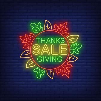 Thanksgiving-verkauf im neon-stil