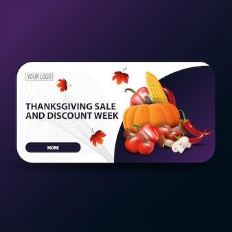 Thanksgiving-verkauf und rabatt woche, moderne rabatt-web-banner
